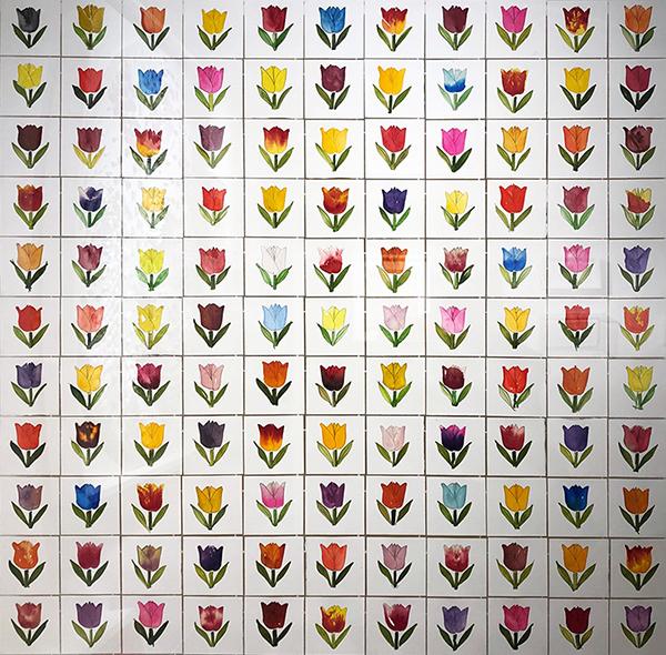 Tulipani, 2021, acquerelli su carta, 120 x 120 cm