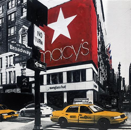 Macy's New York, 2021, tecnica mista e resina su tela, 30 x 30 cm