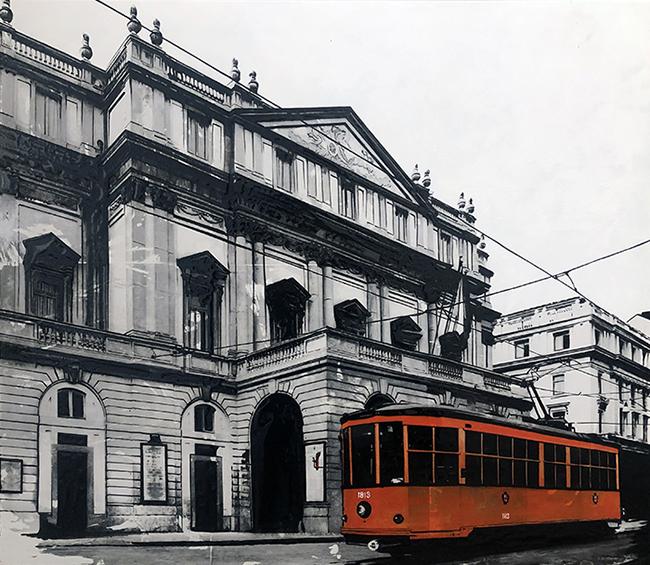 Milano Scala, 2021, tecnica mista e resina su tela, 70 x 80 cm