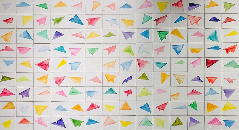 Aerei, 2021, acquerelli su carta, 90 x 165 cm