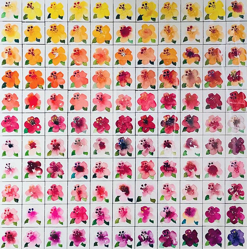 Campo di Hibiscus, 2021, acquerelli su carta, 120 x 120 cm