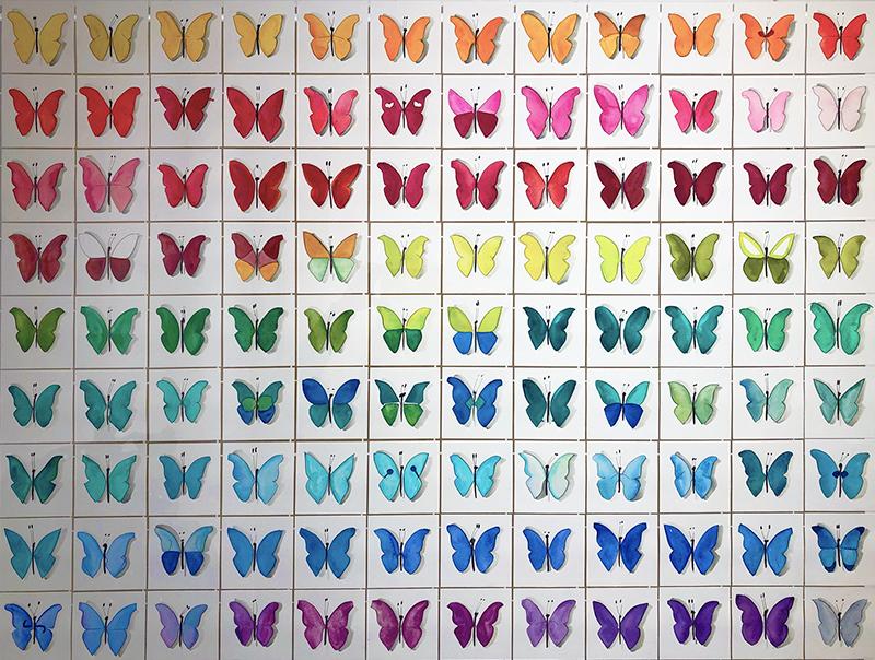 Farfalle, 2021, acquerelli su carta, 90 x 110 cm