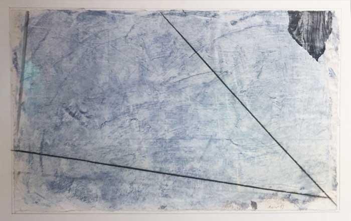 Composizione, 1989, acrilico e collage su carta, 50 x 70 cm
