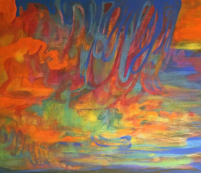 Piccole Oasi, 2019, tecnica mista su tela, 150 x 200 cm