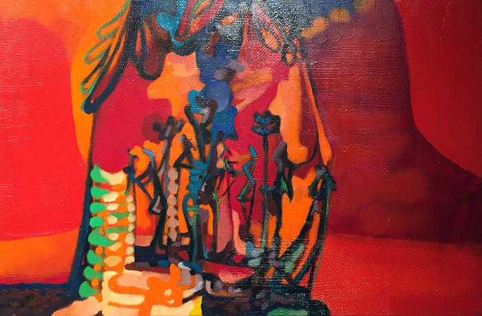 Albergo cinque stelle, 2013, tecnica mista su tela, 50 x 80 cm