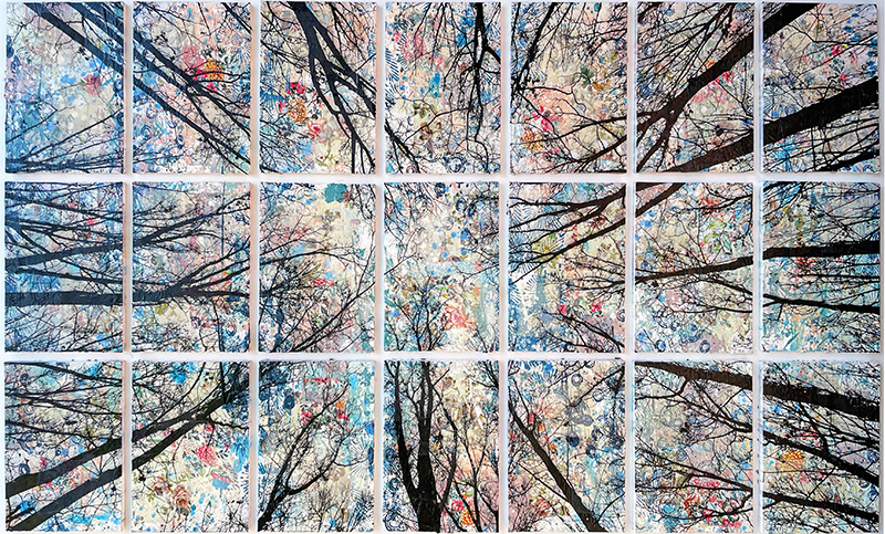 Alberi Vertigine, 2021, tecnica mista su tela, 109 x 187 cm