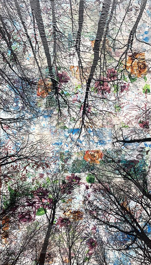 Alberi vertigine, 2021, tecnica mista su tavola, 100 x 55 cm