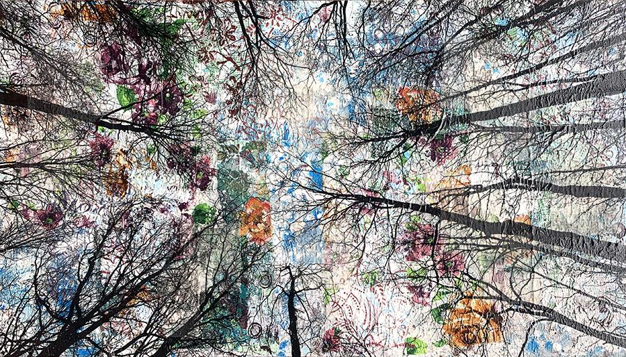 Alberi vertigine, 2021, tecnica mista su tavola, 55 x 100 cm