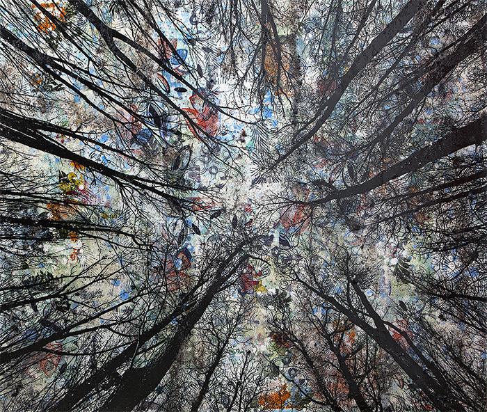 Arazzo Vertigine, 2020, tecnica mista su tavola, 104 x 122 cm