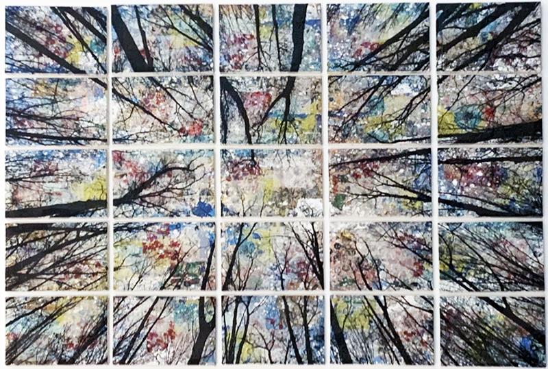 Alberi vertigine, 2021, tecnica mista su tela, 133 x 183 cm (disponibile in studio)