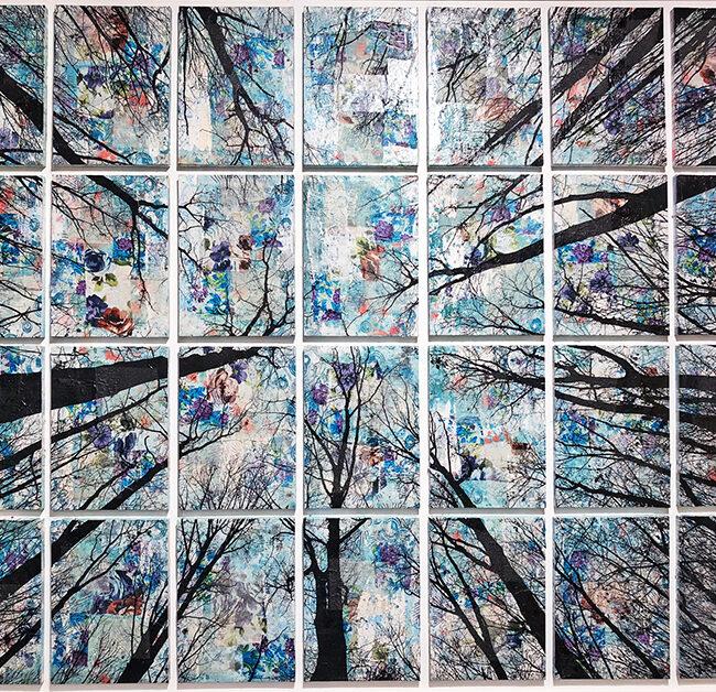 Alberi vertigine, 2020, tecnica mista su tela, 187 x 146 cm