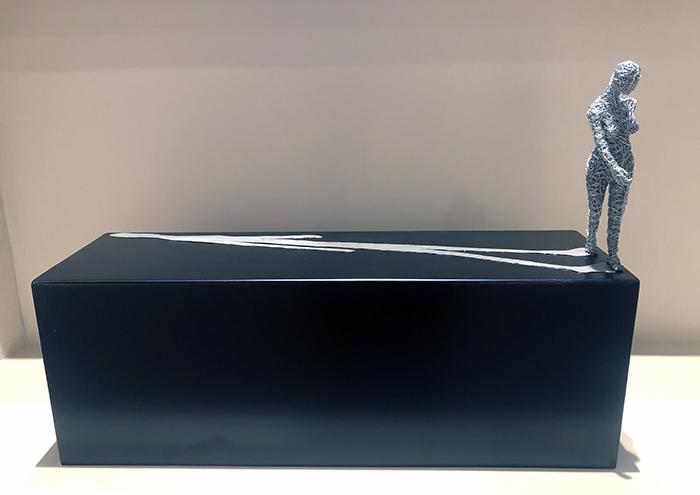 Me and myself, 2019, filo di ferro zincato, ferro smaltato, piombo, 50 x 70 x 20 cm