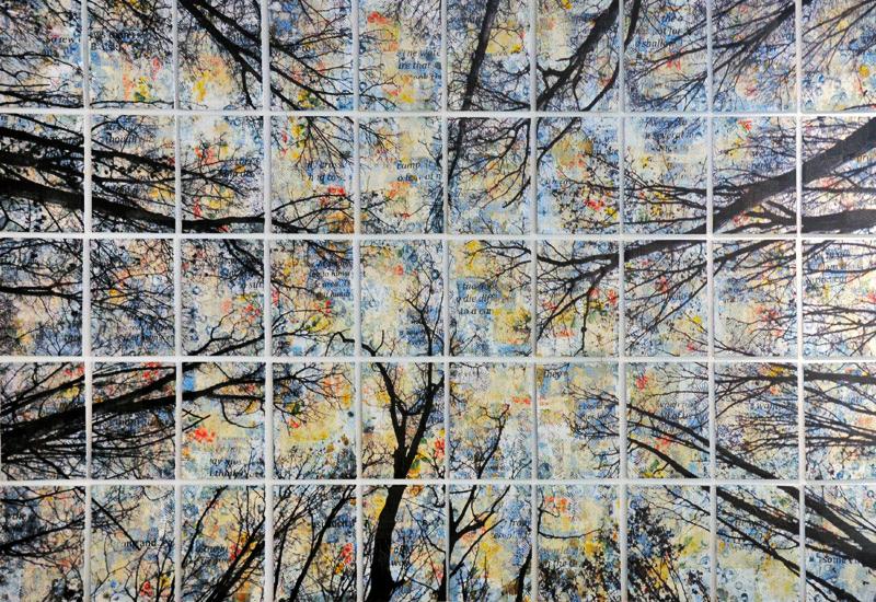 Alberi vertigine, 2014, tecnica mista su tela, 183 x 268 cm (50 tele 25 x 35 cm cad.)