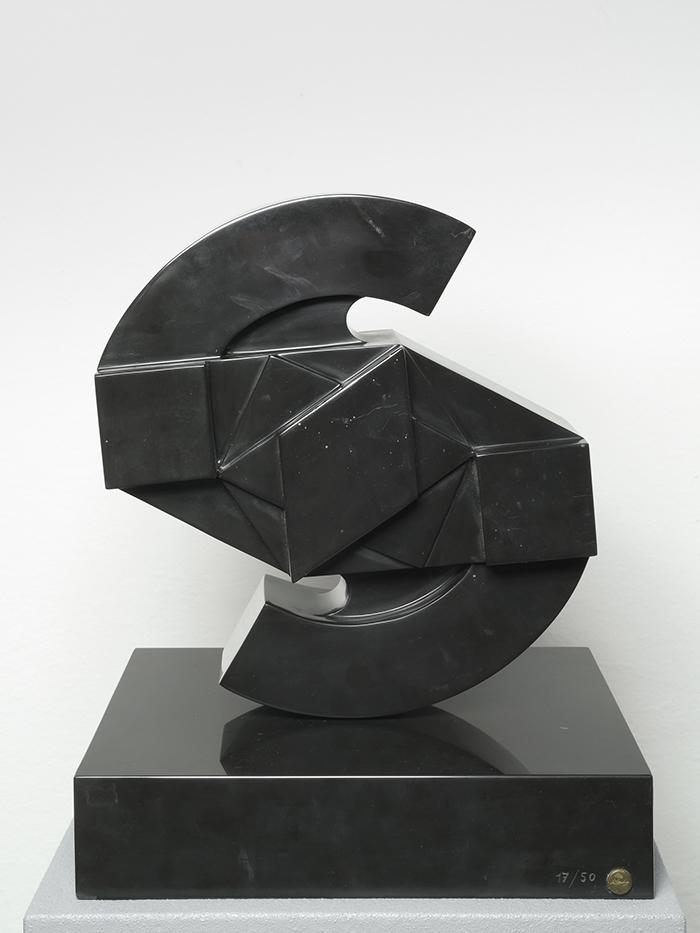 Sole, marmo nero marquina, 35 x 35 x h 42 cm, ed. 17/50