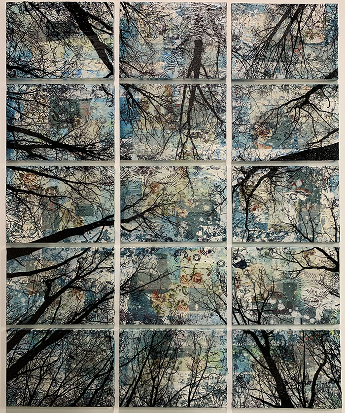 Alberi vertigine, 2020, tecnica mista su tela, 133 x 109 cm