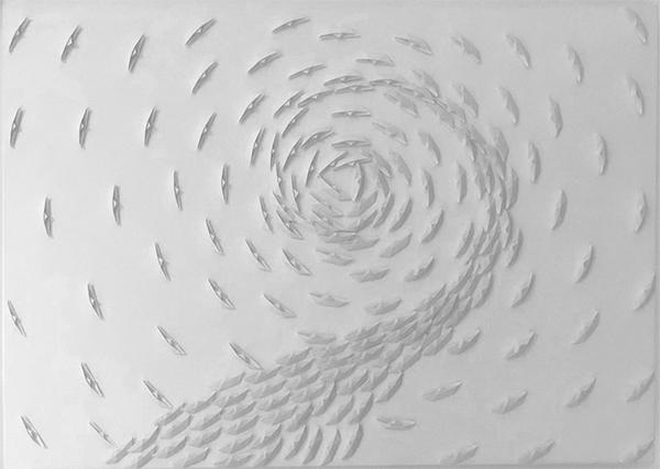 Vortice bianco, 2021, barche di carta su tela, 45 x 65 cm
