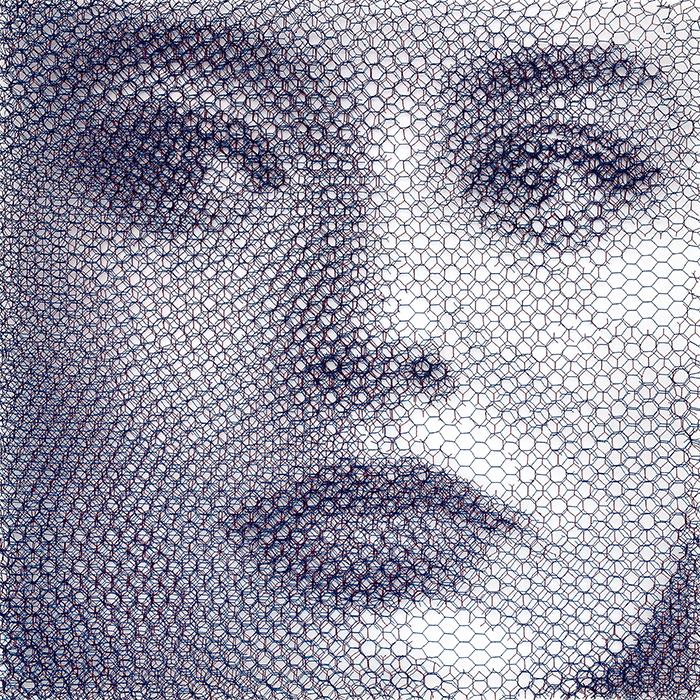 Elsa - movimento 2 (Elementi per una teoria della Jeune-fille), 2019, dieci livelli di rete metallica intagliati a mano, 80 x 80 cm