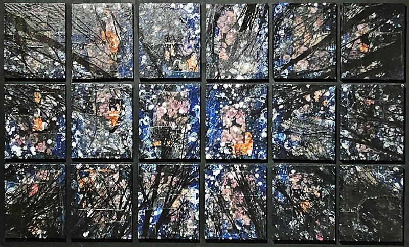 Alberi vertigine nera, 2020, tecnica mista su tela, 130 x 76 cm