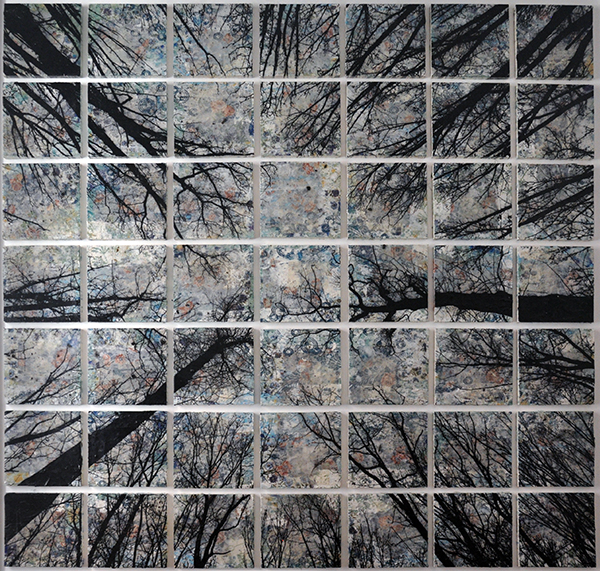 Alberi vertigine, 2020, tecnica mista su tela, 173 x 173 cm