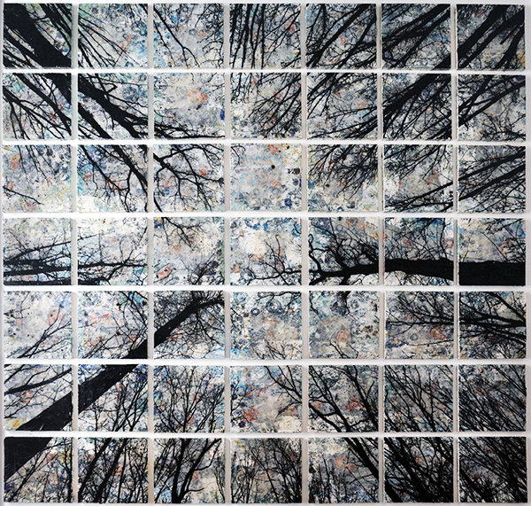 Alberi vertigine, 2020, tecnica mista su tavola, 173 x 173 cm
