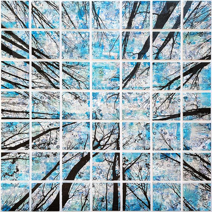 Alberi Vertigine, 2021, tecnica mista su tavola, 160 x 160 cm