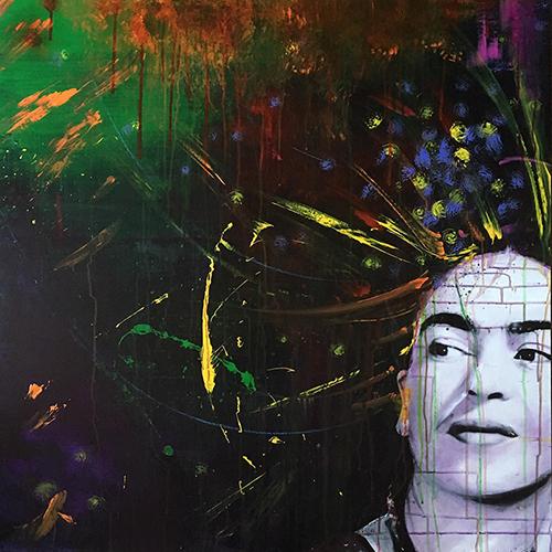 """ONCE UPON A TIME"", Frida Kahlo, 2019, acrilico su reboard, 100 x 100 cm"