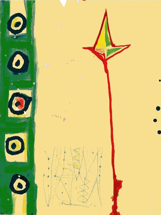 Angeli, 1983, tecnica mista su carta, 31 x 23,5 cm