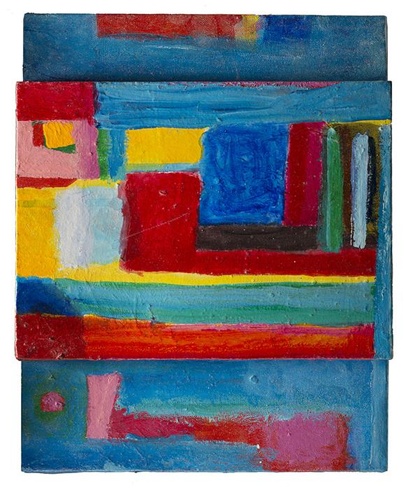 Testa di Pittore, 1985, tecnica mista su tela, 24 x 30 x 4 cm