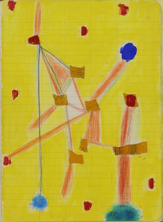 Un bacio prima di pensare, 1985, tecnica mista su carta, 21 x 15 cm