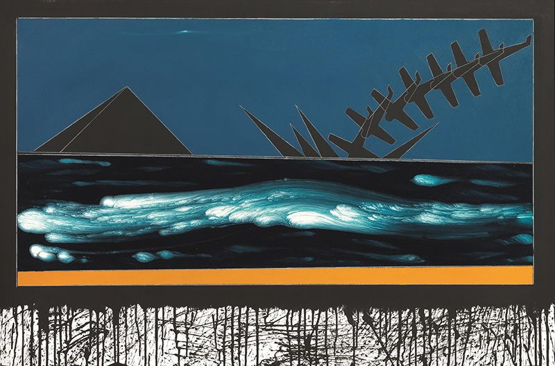Paesaggio con giallo cromo, 1985-1988, tecnica mista su tela, 80 x 120 cm