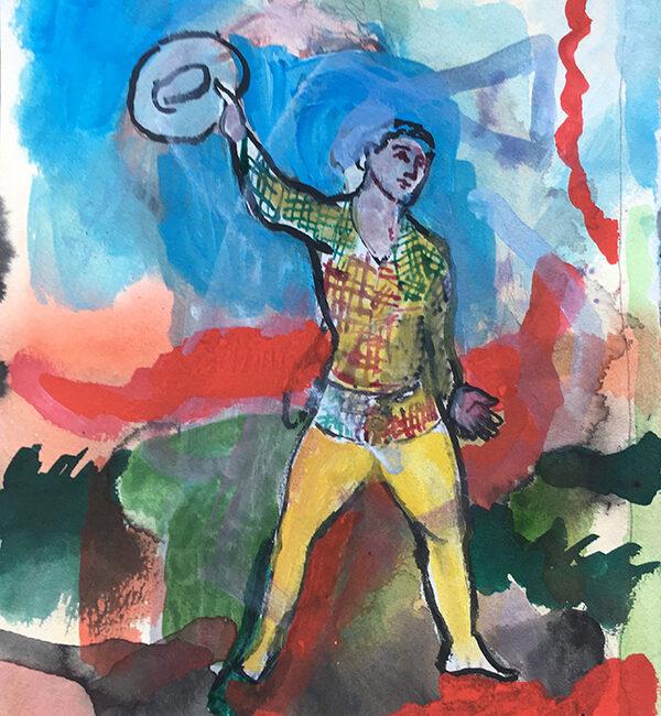 Sandro Chia, Senza titolo, 2005, tecnica mista su carta, 24,9 x 20,10 cm