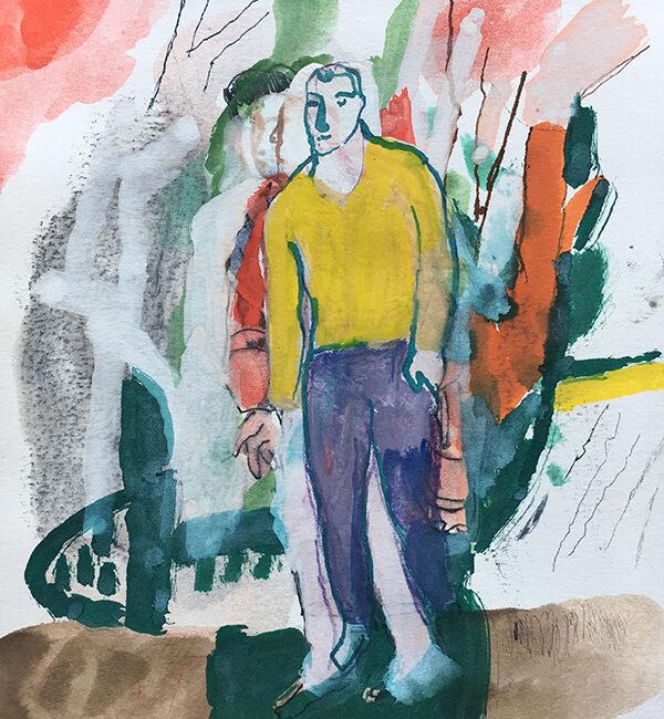 Sandro Chia, Senza titolo, 2005, tecnica mista su carta, 25,4 x 20,30 cm