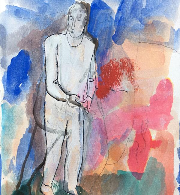 Sandro Chia, Senza titolo, 2005, tecnica mista su carta, 30,9 x 22,9 cm
