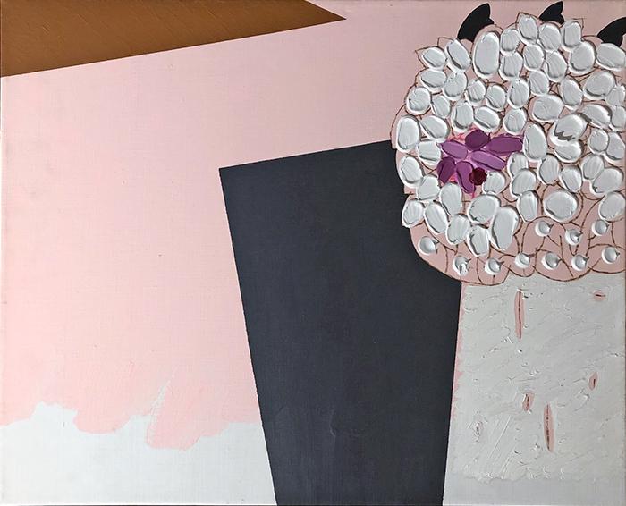 A che punto siamo con i fiori, 1989, tecnica mista su tela, 40 x 50 cm