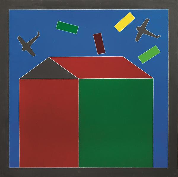 Costruttivismo, 1986-88, tecnica mista su tela, 90 x 90 cm
