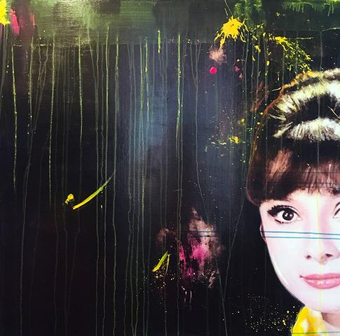 """ONCE UPON A TIME"" Audrey Hepburn, 2020, acrilico su reboard, 100 x 100 cm"