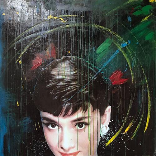 """ONCE UPON A TIME"" Audrey Hepburn, 2019, acrilico su reboard, 100 x 100 cm"