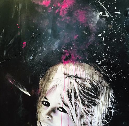 """ONCE UPON A TIME"" Brigitte Bardot, 2020, acrilico su reboard, 100 x 100 cm"