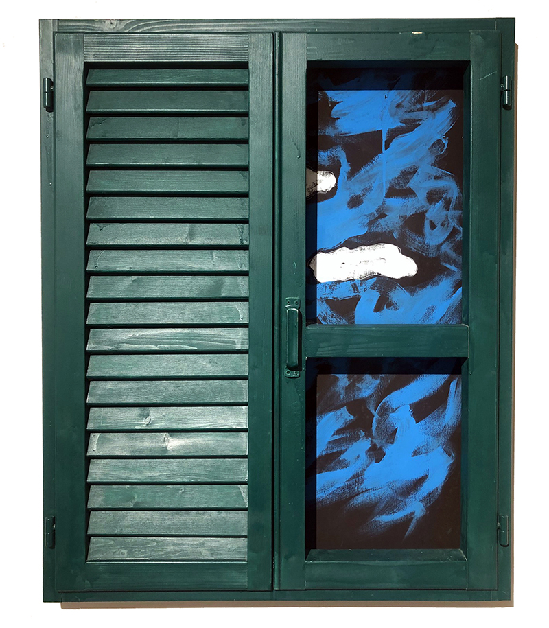Persiana, smalto e acrilico su legno, 100 x 80 cm