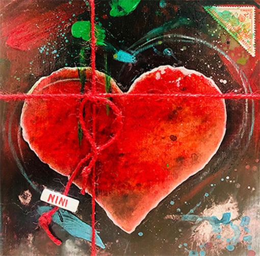 """A GIFT OF GIFT"", Heart, 2021, tecnica mista su reboard, 20 x 20 cm"