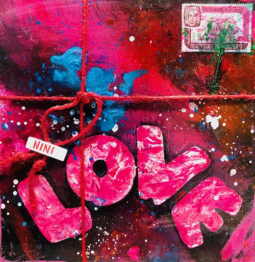 """""""A GIFT OF GIFT"""", Love, 2021, tecnica mista su reboard, 20 x 20 cm"""