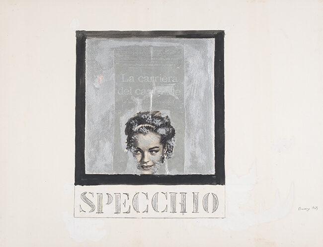 Specchio, 13 marzo 1963, 1963, collage e tecnica mista su cartoncino, 50 x 70 cm
