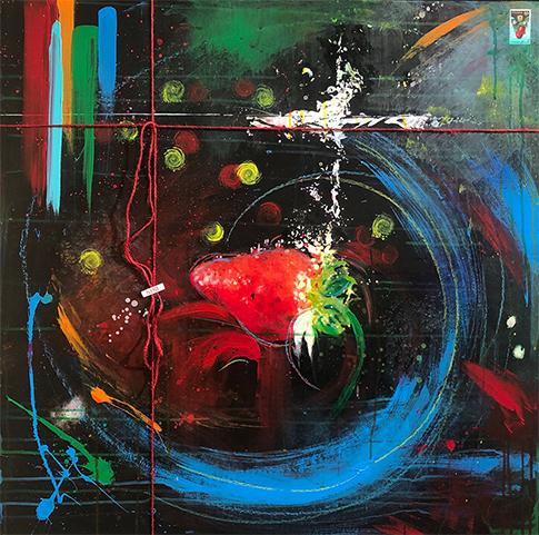 """""""A GIFT OF GIFT"""" Strawberry, 2020, tecnica mista su reboard, 80 x 80 cm"""