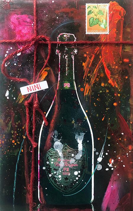 """""""A GIFT OF GIFT"""", Dom Pérignon, 2021, tecnica mista su reboard, 25 x 15 cm"""