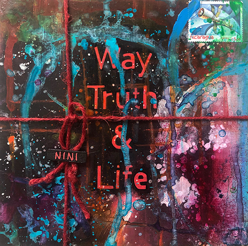"""A GIFT OF GIFT"", Way Truth Life, 2021, tecnica mista su reboard, 20 x 20 cm"