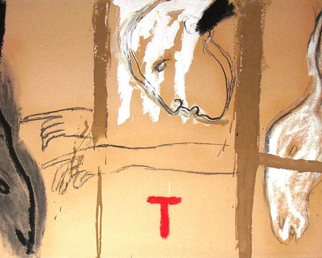 Senza titolo, 1985, tecnica mista su cartone, cm 70 x 100 cm