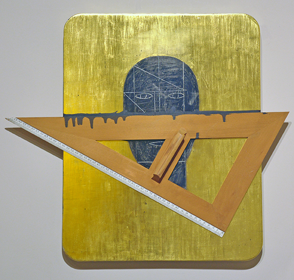 Senza titolo, 2006, tecnica mista su cartone oro, 50 x 57 cm