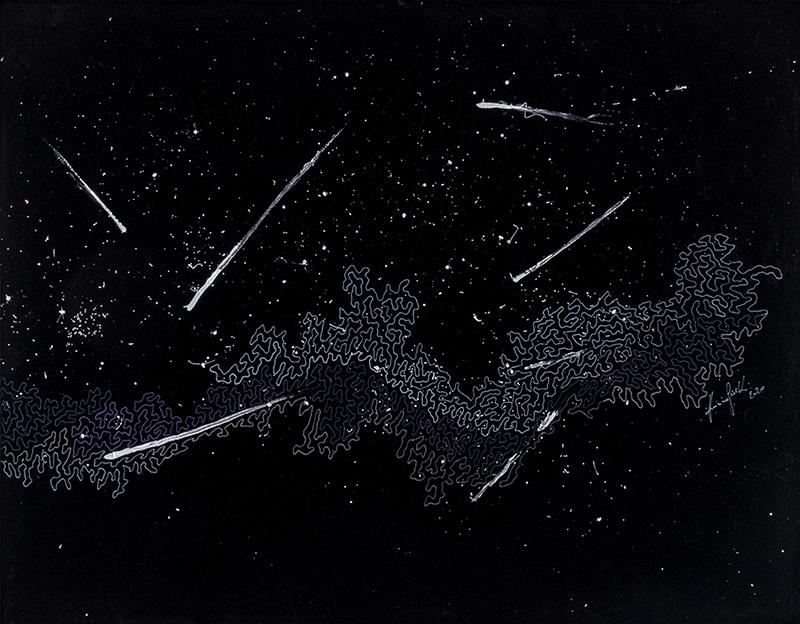 20 Galassie, 2020, tecnica mista su velluto, 146 x 186 cm