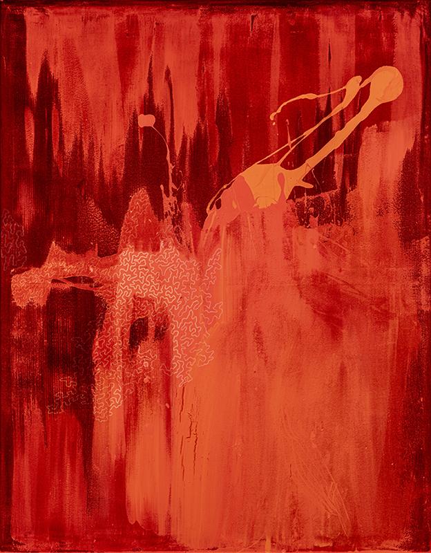 Arancio, 2021, tecnica mista su velluto, 186 x 146 cm