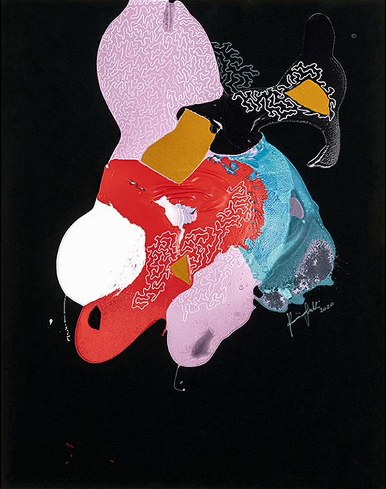 Cavallo innamorato, 2020, tecnica mista su velluto, 146 x 115 cm
